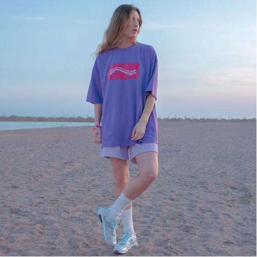 Футболка «Пора Валить» Фиолетовая Оверсайз